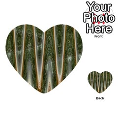 Green Brown Zigzag Multi Purpose Cards (heart)  by BrightVibesDesign