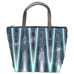 Blue Turquoise Zigzag Pattern Bucket Bags by BrightVibesDesign