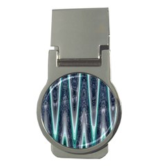 Blue Turquoise Zigzag Pattern Money Clips (round)  by BrightVibesDesign