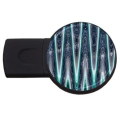 Blue Turquoise Zigzag Pattern Usb Flash Drive Round (4 Gb)  by BrightVibesDesign