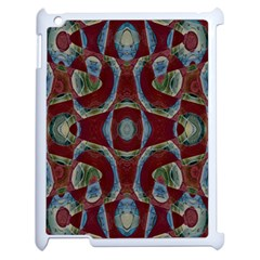 Fancy Maroon Blue Design Apple Ipad 2 Case (white) by BrightVibesDesign