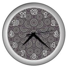 Geometric Boho Print Wall Clocks (silver)  by dflcprints