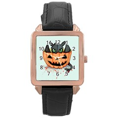 Halloween Dragon Rose Gold Leather Watch  by lvbart