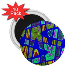 Bright Blue Mod Pop Art  2 25  Magnets (10 Pack)  by BrightVibesDesign