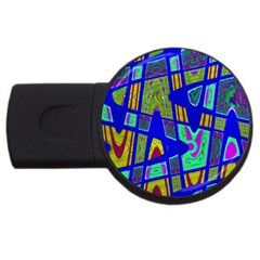 Bright Blue Mod Pop Art  Usb Flash Drive Round (4 Gb)  by BrightVibesDesign