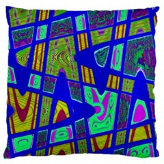 Bright Blue Mod Pop Art  Large Flano Cushion Case (one Side) by BrightVibesDesign