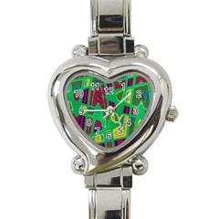 Bright Green Mod Pop Art Heart Italian Charm Watch by BrightVibesDesign