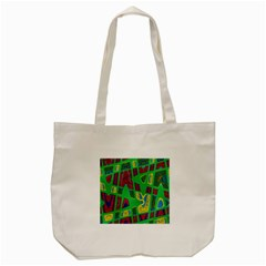 Bright Green Mod Pop Art Tote Bag (cream) by BrightVibesDesign