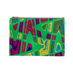 Bright Green Mod Pop Art Cosmetic Bag (Large)  by BrightVibesDesign