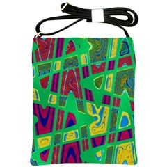 Bright Green Mod Pop Art Shoulder Sling Bags by BrightVibesDesign