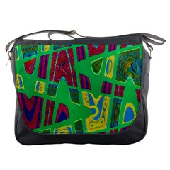 Bright Green Mod Pop Art Messenger Bags by BrightVibesDesign