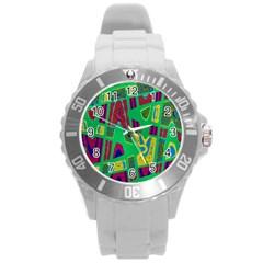 Bright Green Mod Pop Art Round Plastic Sport Watch (l) by BrightVibesDesign