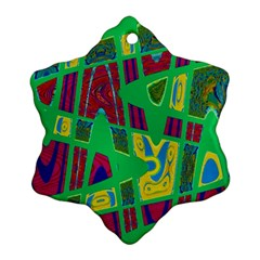 Bright Green Mod Pop Art Ornament (snowflake)  by BrightVibesDesign