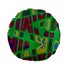 Bright Green Mod Pop Art Standard 15  Premium Round Cushions by BrightVibesDesign