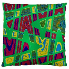 Bright Green Mod Pop Art Large Flano Cushion Case (two Sides) by BrightVibesDesign