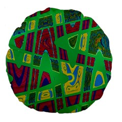 Bright Green Mod Pop Art Large 18  Premium Flano Round Cushions by BrightVibesDesign
