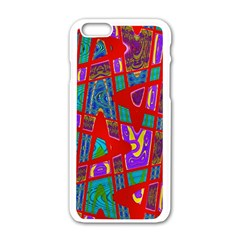 Bright Red Mod Pop Art Apple Iphone 6/6s White Enamel Case by BrightVibesDesign