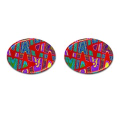 Bright Red Mod Pop Art Cufflinks (oval) by BrightVibesDesign