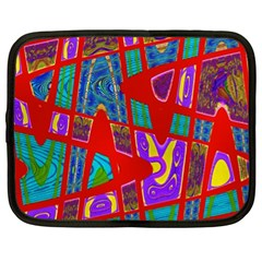Bright Red Mod Pop Art Netbook Case (XL)  by BrightVibesDesign