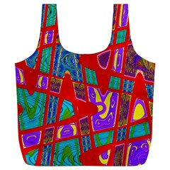 Bright Red Mod Pop Art Full Print Recycle Bags (l)  by BrightVibesDesign