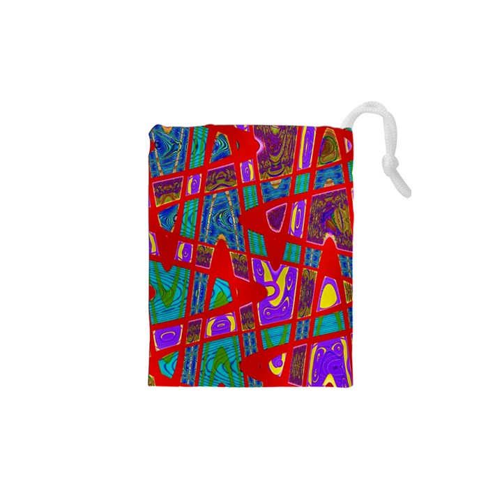 Bright Red Mod Pop Art Drawstring Pouches (XS)