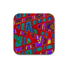 Bright Red Mod Pop Art Rubber Coaster (square)  by BrightVibesDesign