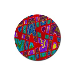 Bright Red Mod Pop Art Rubber Coaster (Round)  by BrightVibesDesign