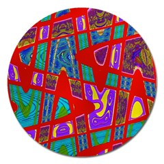Bright Red Mod Pop Art Magnet 5  (round) by BrightVibesDesign