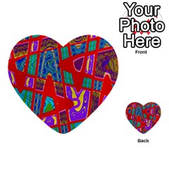Bright Red Mod Pop Art Multi Purpose Cards (heart)  by BrightVibesDesign