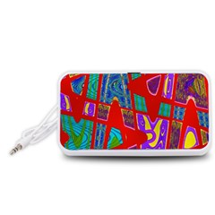 Bright Red Mod Pop Art Portable Speaker (White)  by BrightVibesDesign