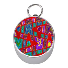 Bright Red Mod Pop Art Mini Silver Compasses by BrightVibesDesign