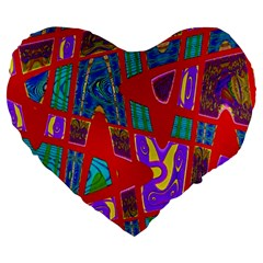 Bright Red Mod Pop Art Large 19  Premium Flano Heart Shape Cushions by BrightVibesDesign