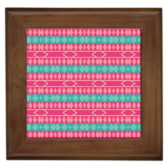 Pink Blue Rhombus Pattern                               			framed Tile