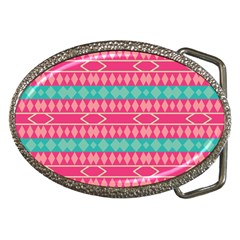 Pink blue rhombus pattern                               			Belt Buckle by LalyLauraFLM