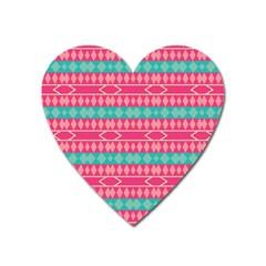 Pink Blue Rhombus Pattern                               magnet (heart) by LalyLauraFLM