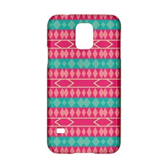 Pink Blue Rhombus Pattern                               			samsung Galaxy S5 Hardshell Case by LalyLauraFLM