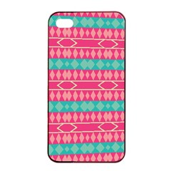Pink Blue Rhombus Pattern                               			apple Iphone 4/4s Seamless Case (black) by LalyLauraFLM