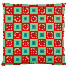 Blue Red Squares Pattern                                	large Flano Cushion Case (two Sides) by LalyLauraFLM