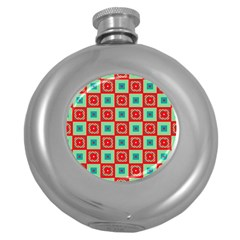 Blue Red Squares Pattern                                			hip Flask (5 Oz) by LalyLauraFLM