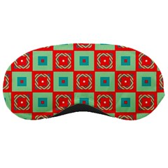 Blue Red Squares Pattern                                			sleeping Mask by LalyLauraFLM