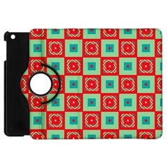 Blue Red Squares Pattern                                apple Ipad Mini Flip 360 Case by LalyLauraFLM