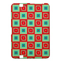 Blue Red Squares Pattern                                kindle Fire Hd 8 9  Hardshell Case by LalyLauraFLM