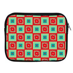 Blue Red Squares Pattern                                			apple Ipad 2/3/4 Zipper Case by LalyLauraFLM