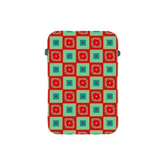 Blue Red Squares Pattern                                apple Ipad Mini Protective Soft Case by LalyLauraFLM