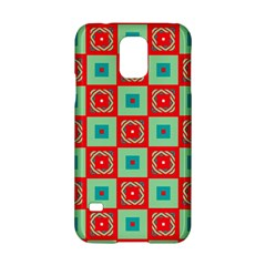 Blue Red Squares Pattern                                			samsung Galaxy S5 Hardshell Case by LalyLauraFLM
