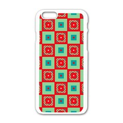 Blue Red Squares Pattern                                			apple Iphone 6/6s White Enamel Case by LalyLauraFLM