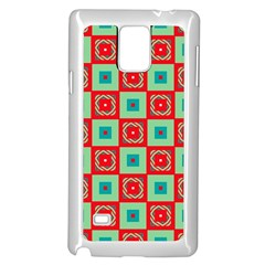 Blue Red Squares Pattern                                samsung Galaxy Note 4 Case (white) by LalyLauraFLM