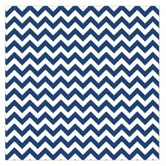 Navy Blue & White Zigzag Pattern Large Satin Scarf (square) by Zandiepants