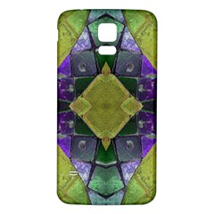 Purple Yellow Stone Abstract Samsung Galaxy S5 Back Case (white) by BrightVibesDesign