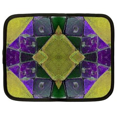 Purple Yellow Stone Abstract Netbook Case (xl)  by BrightVibesDesign